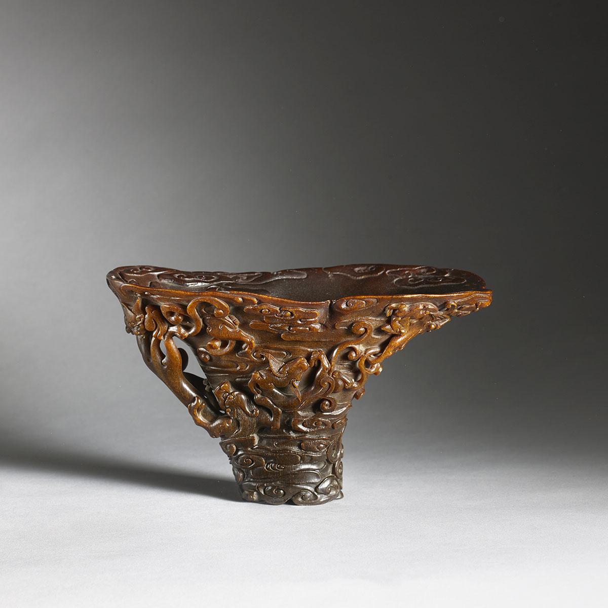 Rhino horn libation cup