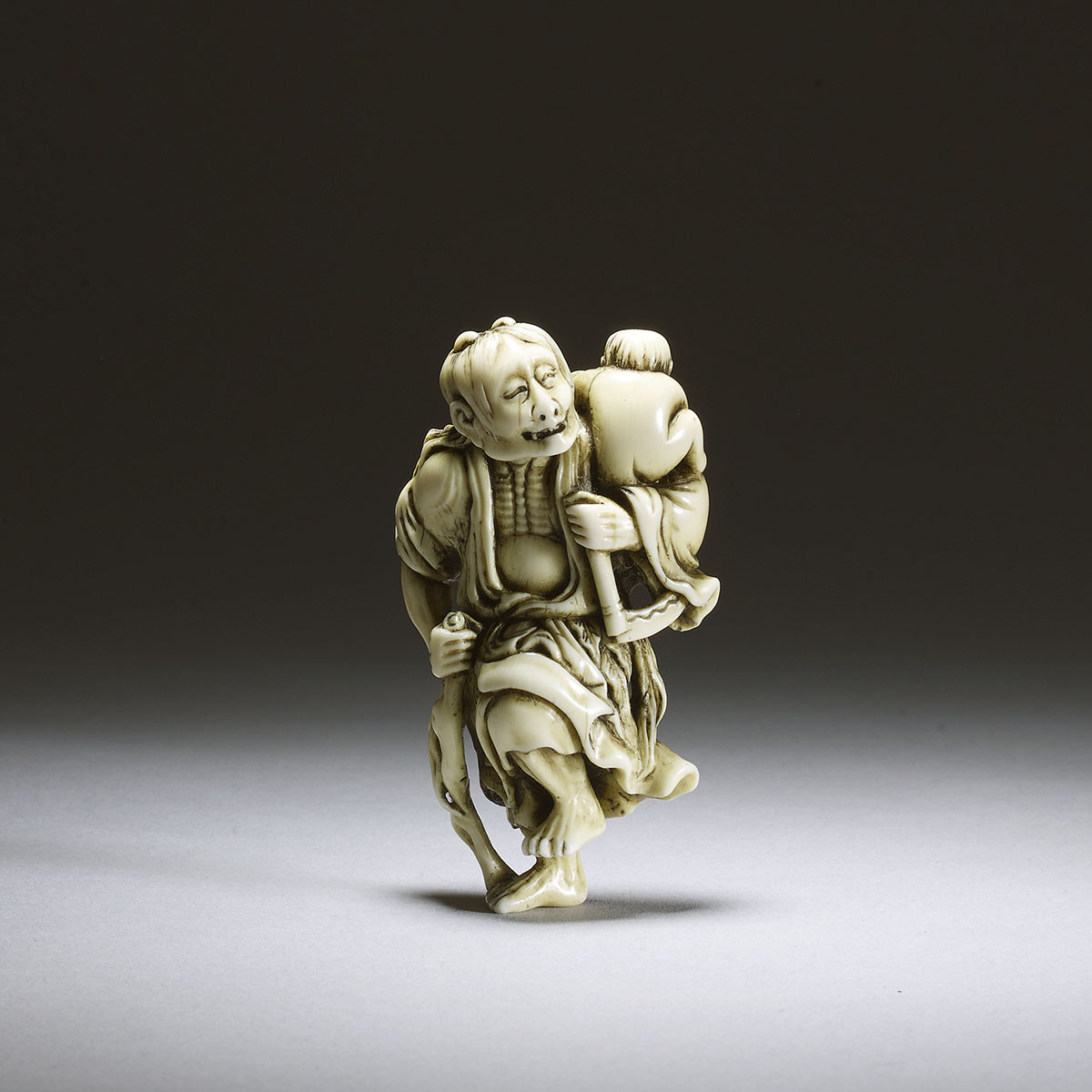 Sanko, netsuke of Yamauba with Kintoki
