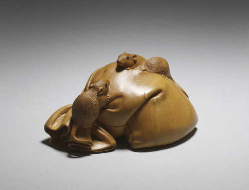 **SOLD** Boxwood netsuke of three rats on Daikoku's sack