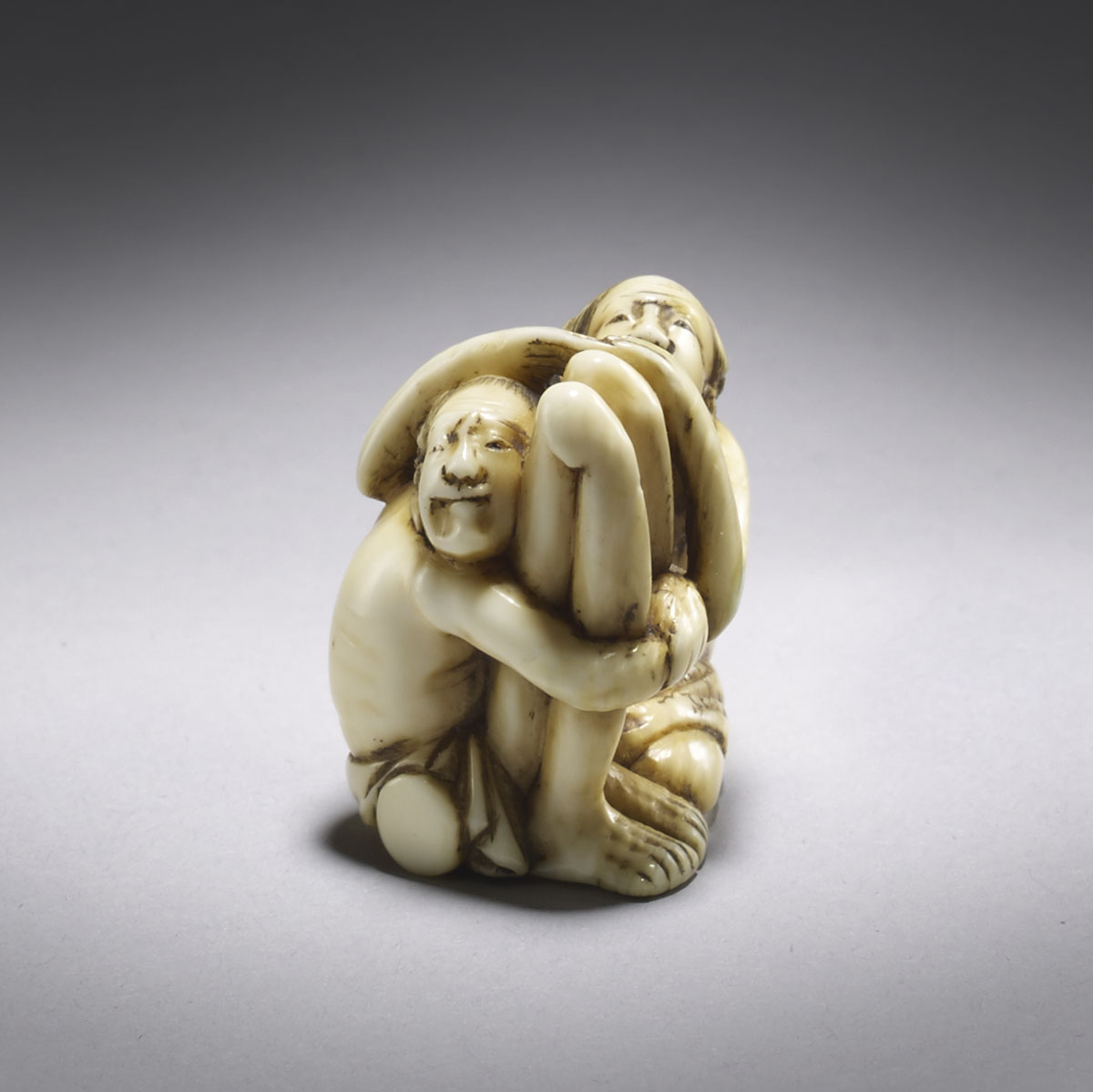 Tomochika, ivory netsuke of Ashinaga and Tenaga