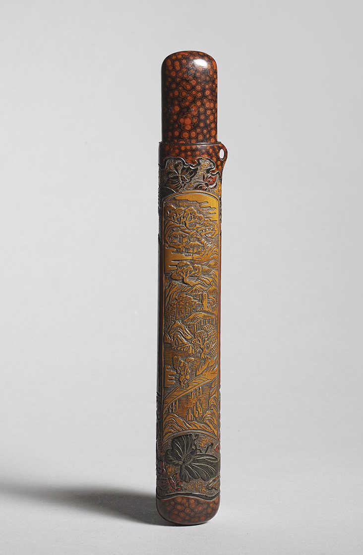 Unusual lacquered wood musozutsu pipecase