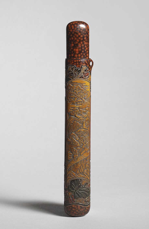 Insolito pipecase musozutsu in legno laccato