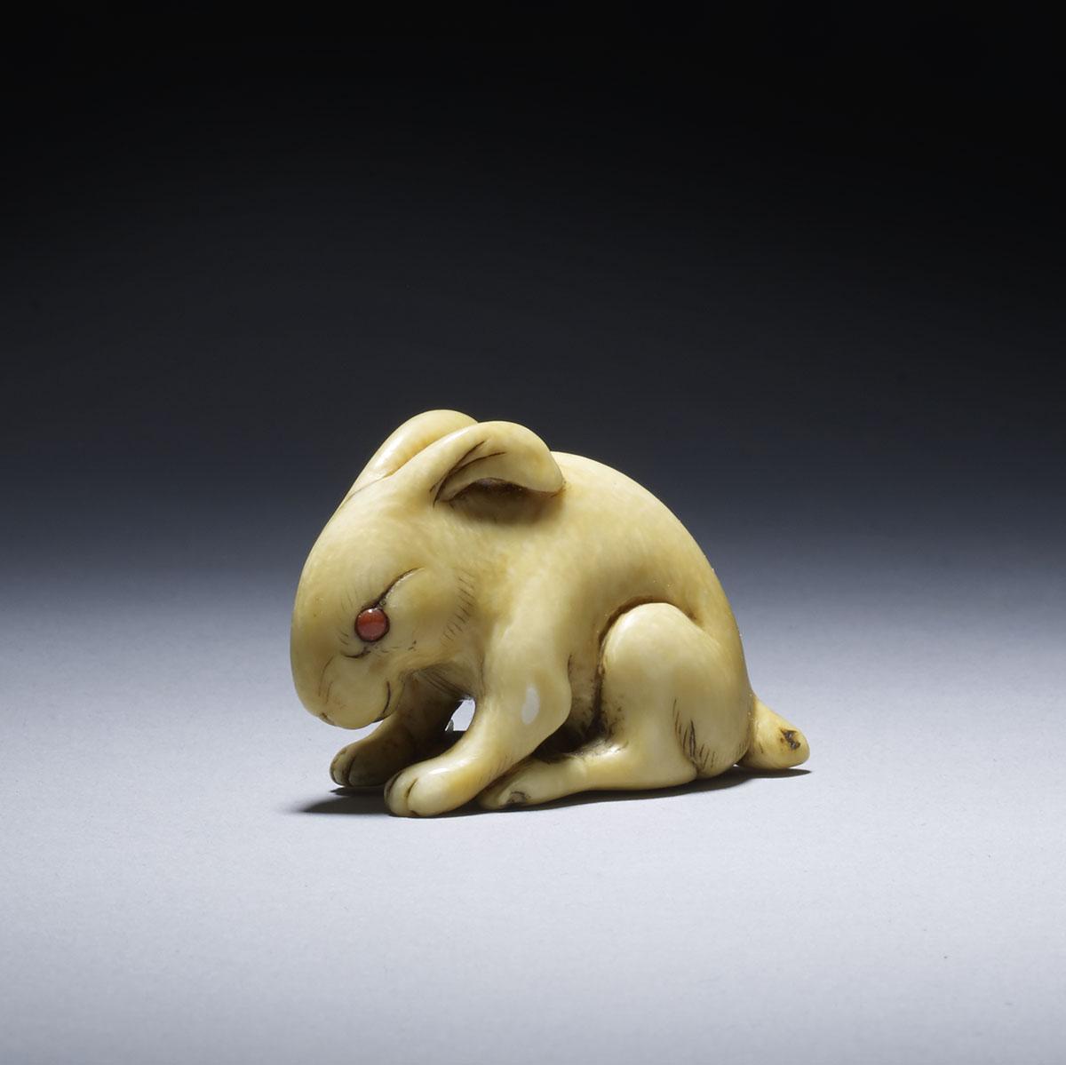 Yoshimasa, netsuke of a seated hare