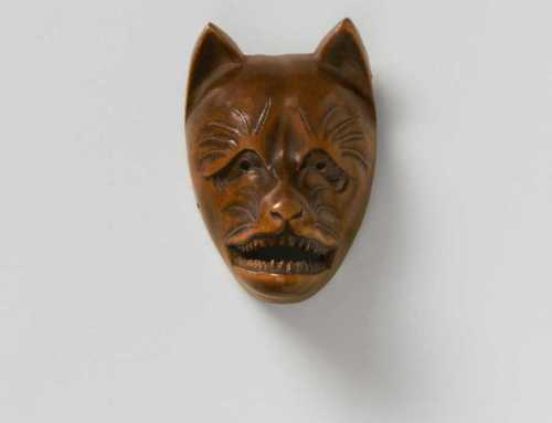 Wood mask netsuke of Kitsune