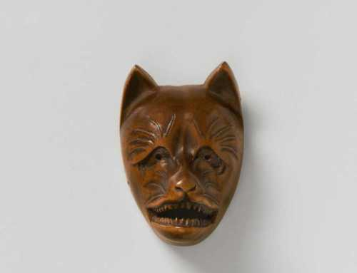 Wood mask netsuke of Kitsune