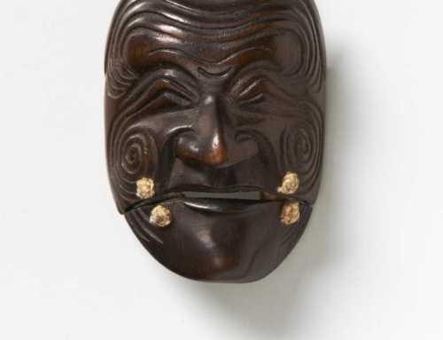 Wood mask netsuke of Sanka Jo