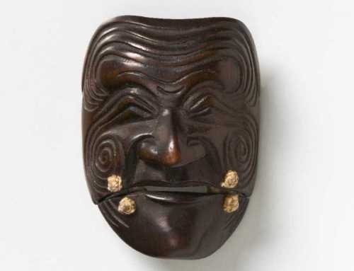 Wood mask netsuke of Sanka Jo