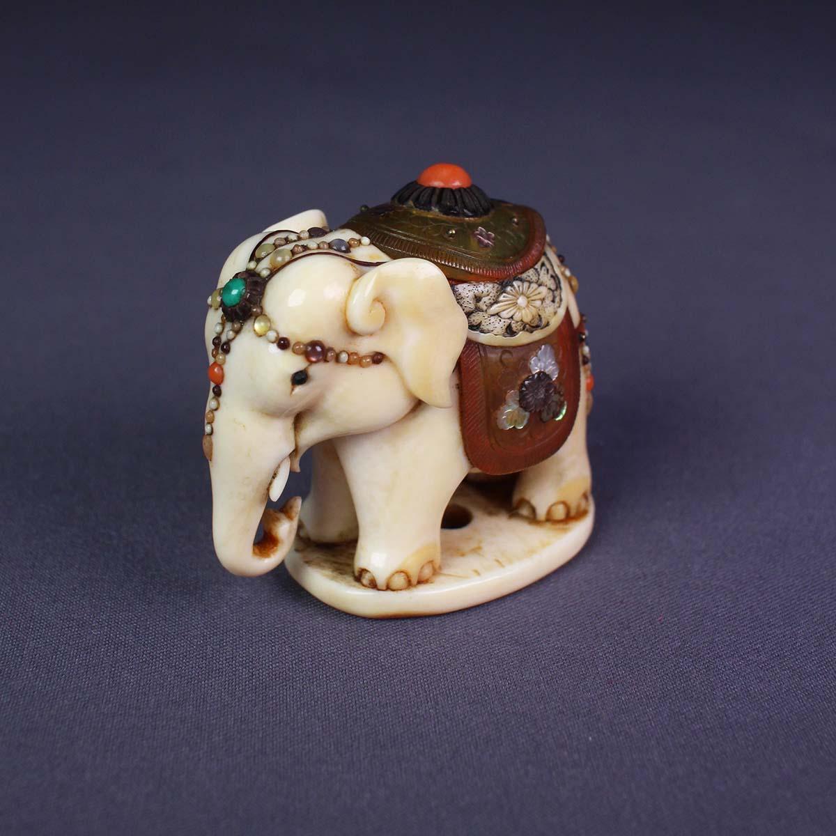 Inlaid Ivory Netsuke of Elephant on Base