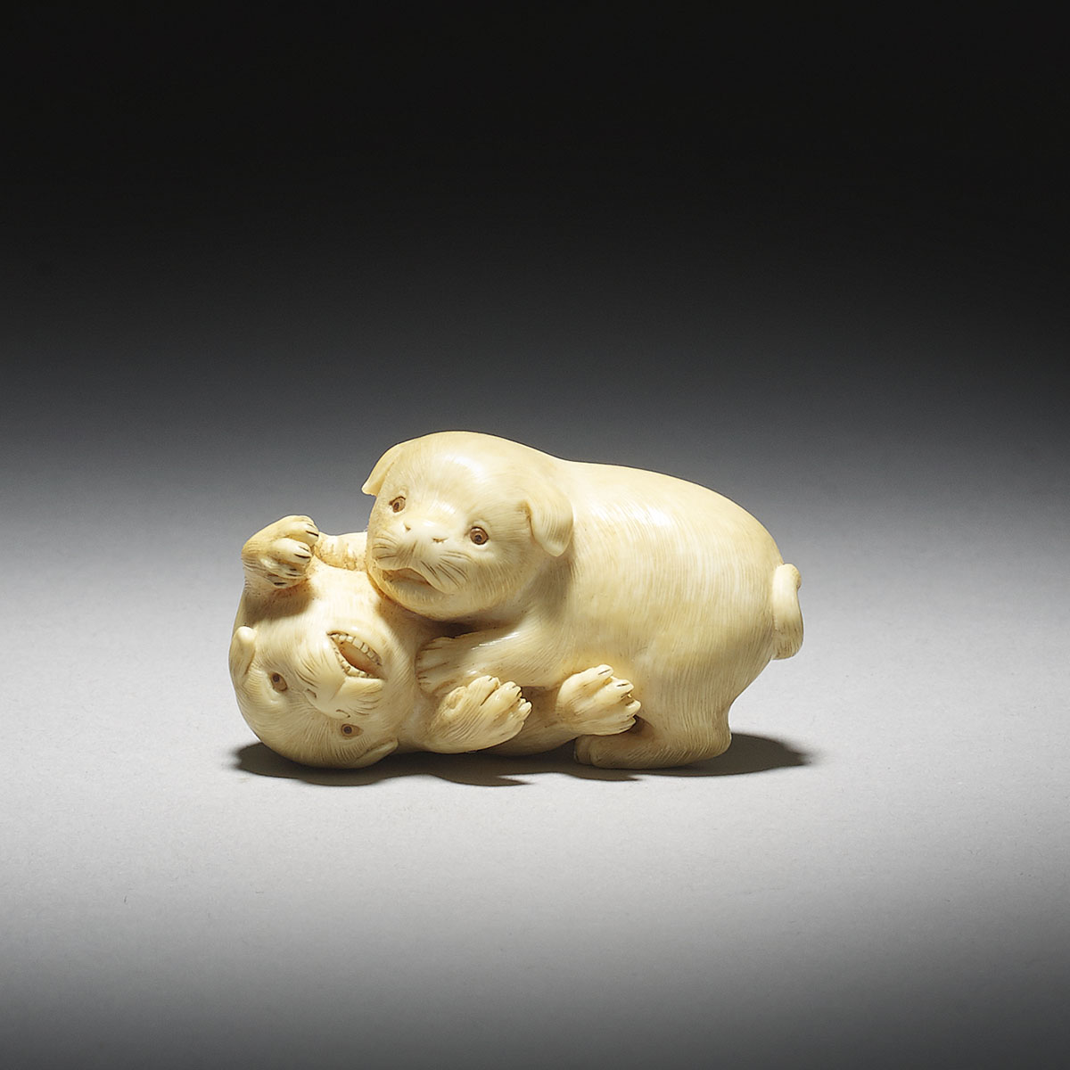 Ivory Netsuke of Two Dogs Playfighting by Kaigyokusai Masatsugu_MR2922_v1