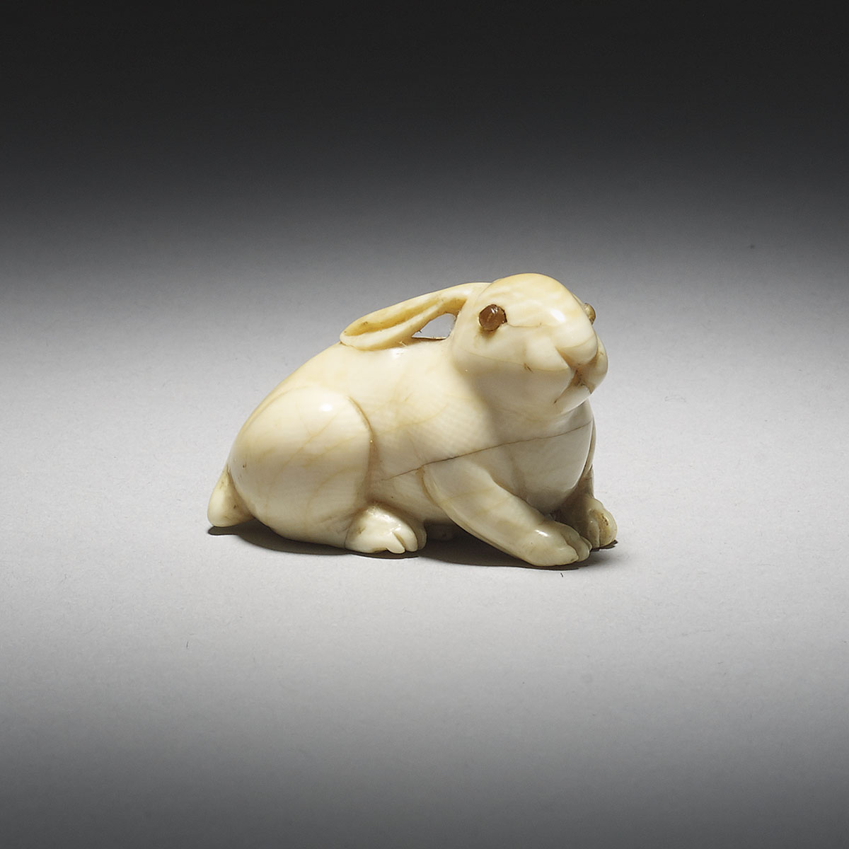 Ivory Netsuke of a Crouching Rabbit_MR2876_v1