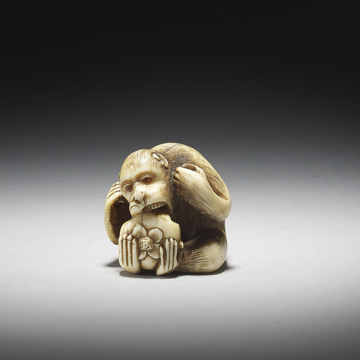 Ivory Netsuke of a Monkey with Kaki by Ranmei_MR2909_v1