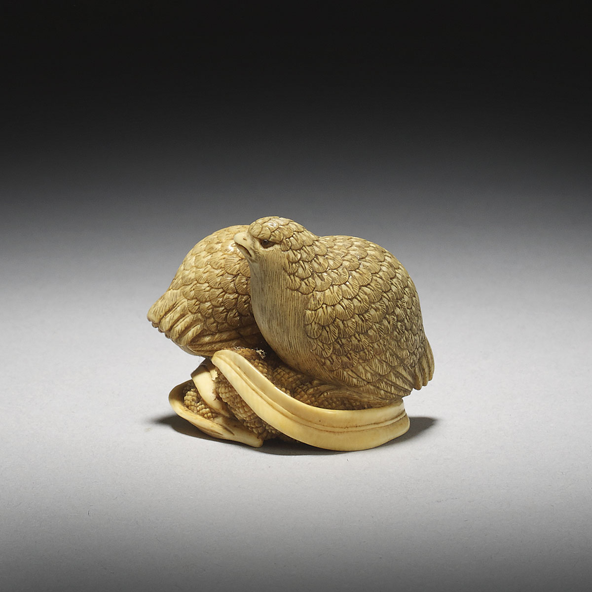 Ivory Netsuke of a Pair of Quails on Millet by Okatori_MR2916_v1