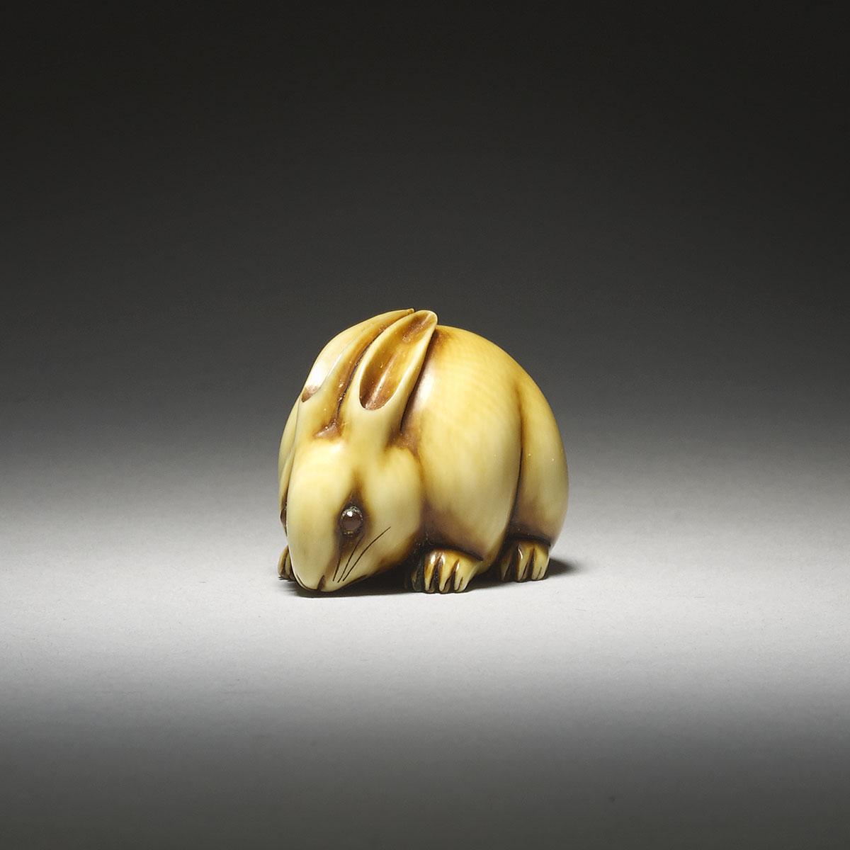 Rare Ivory Netsuke of a Rabbit by Ohara Mitsuhiro_MR2882_v1