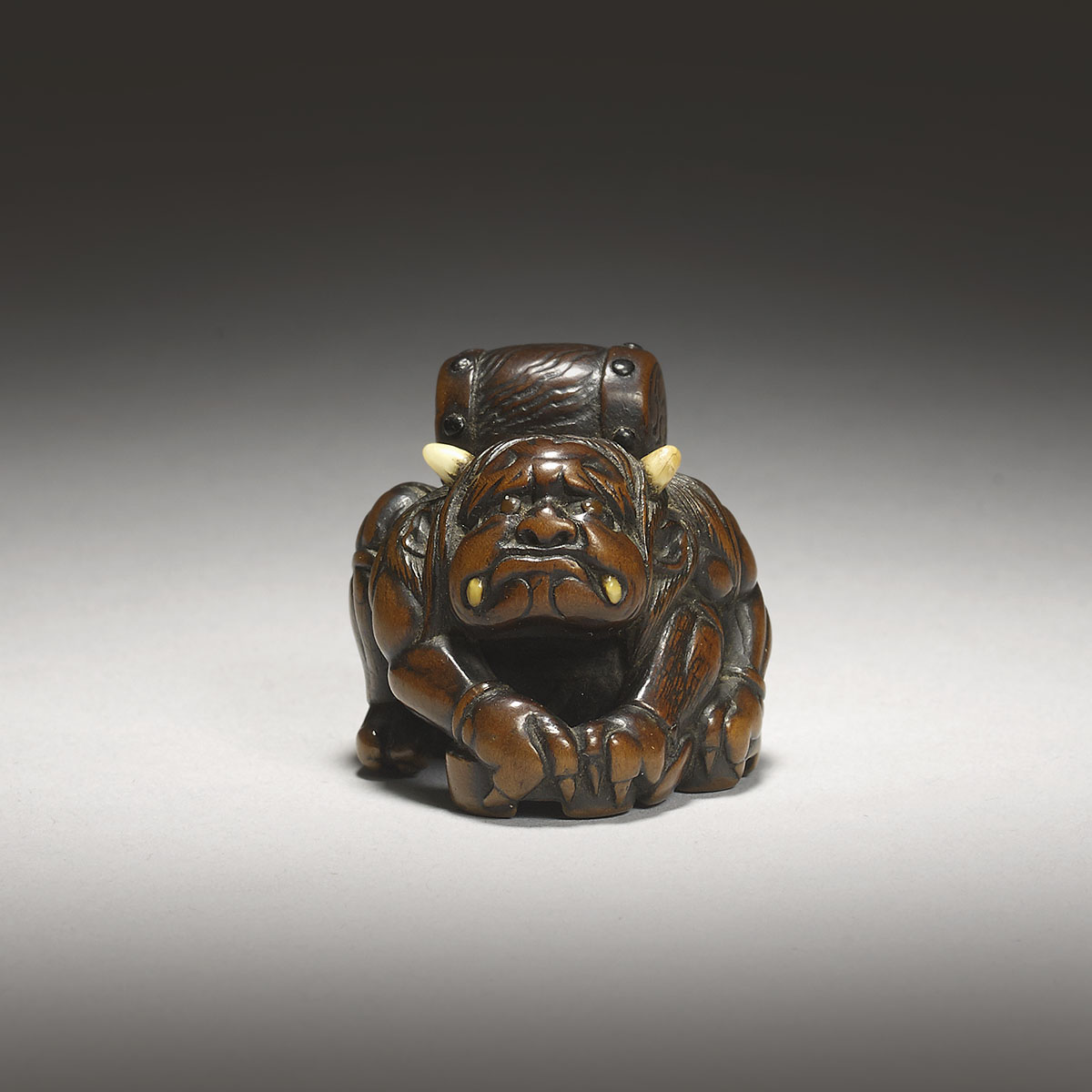 Dark stained wood netsuke of Raiden, Masasada, MR3115_v1