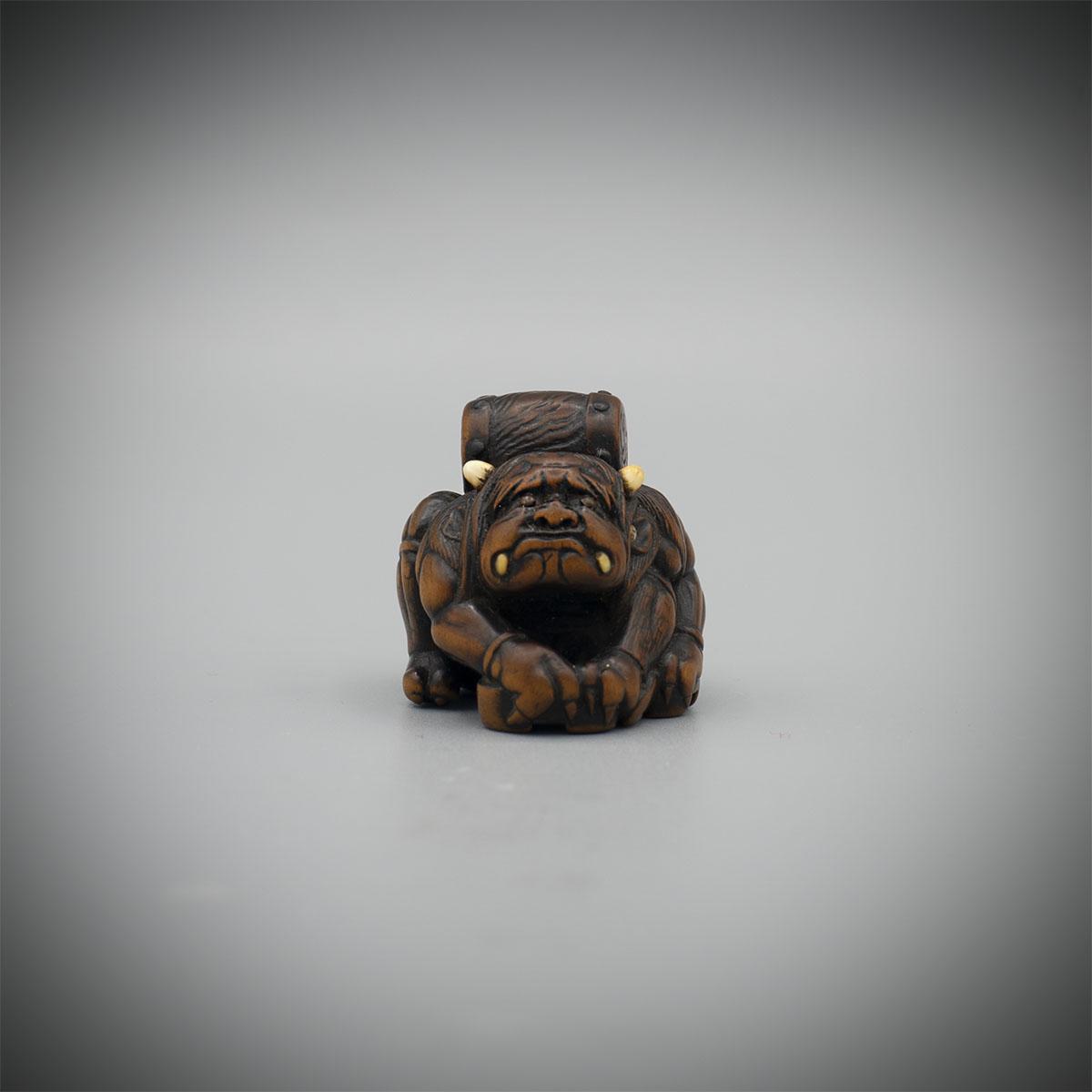 Dark stained wood netsuke of Raiden, by Masasada, MR3115