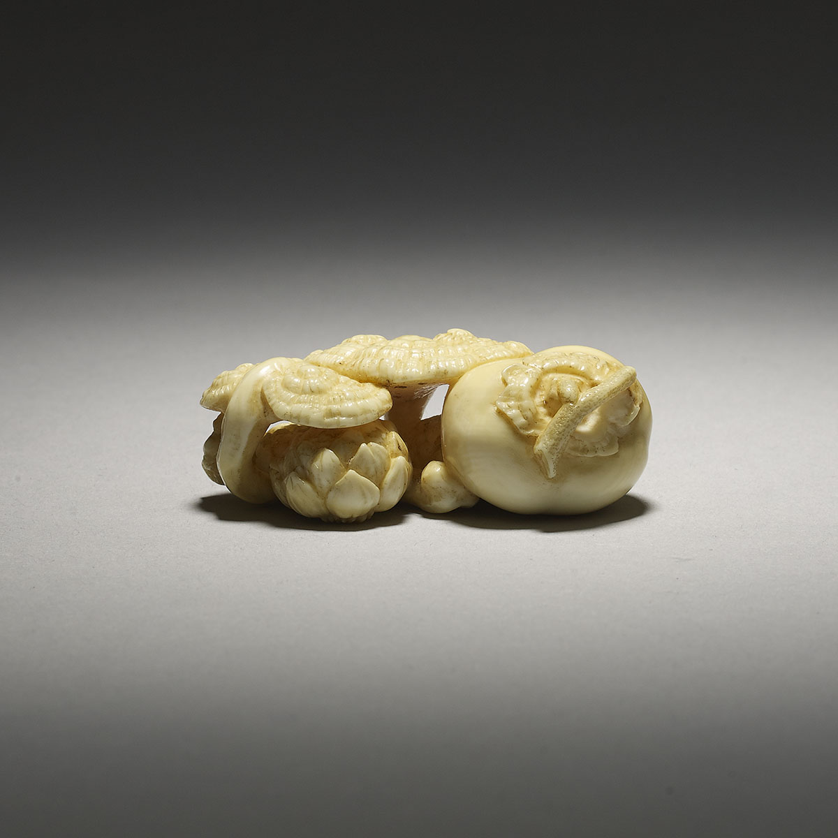 Ivory netsuke of Kaki, reishi and lily bulbs, Tetsugendo Kyusai,MR3092_v3