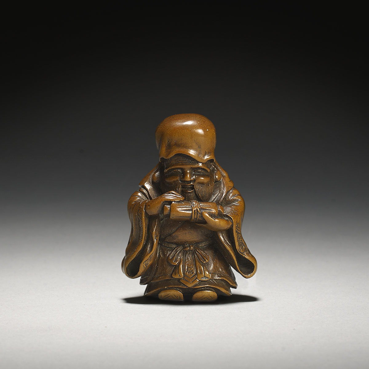 Wood Netsuke of Jurojin, Meikeisai Hōjitsu,MR3093_v1