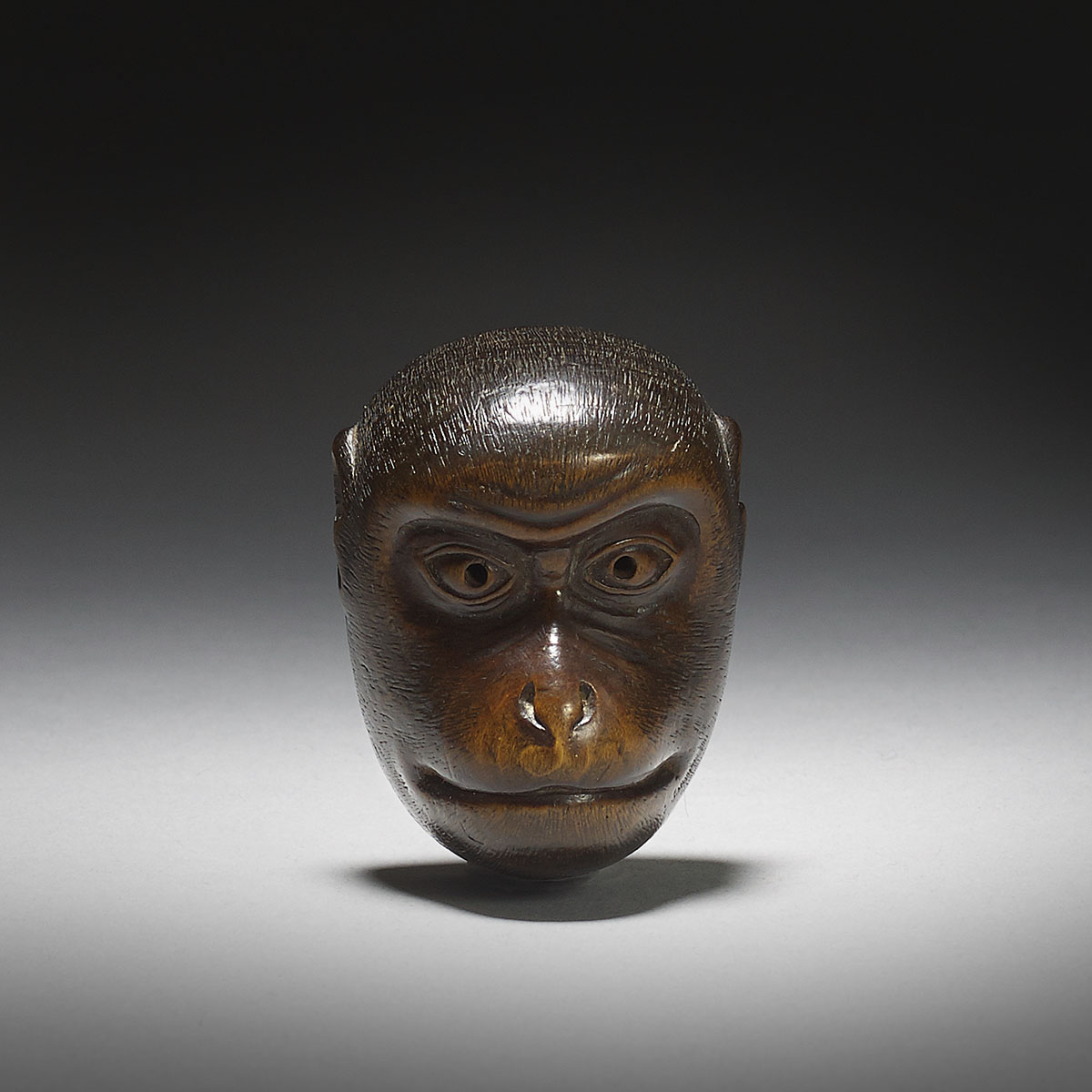 Wood mask netsuke of Saru, Deme Uman, MR2956_v1