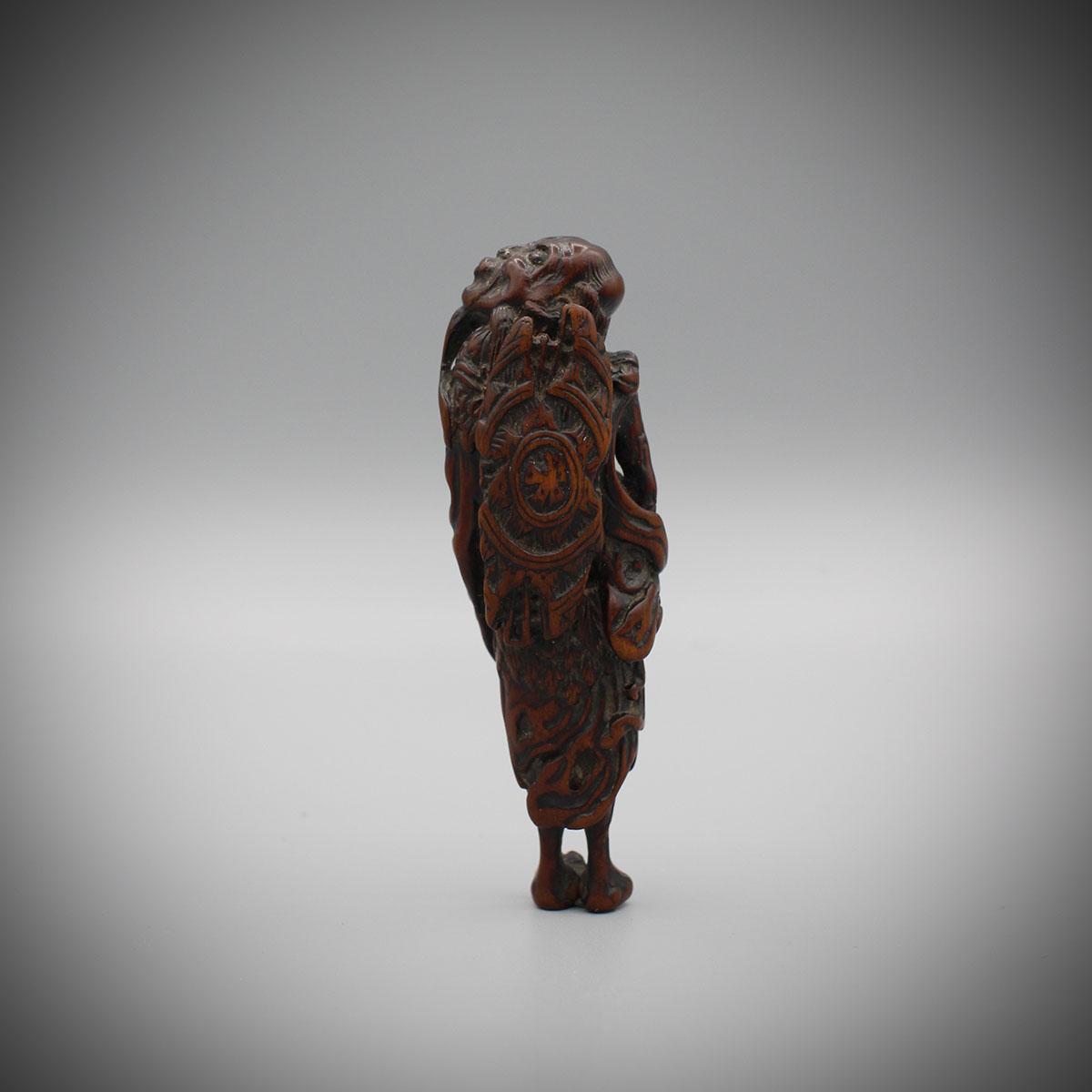 Old Wood Tekkai Sennin Netsuke verso