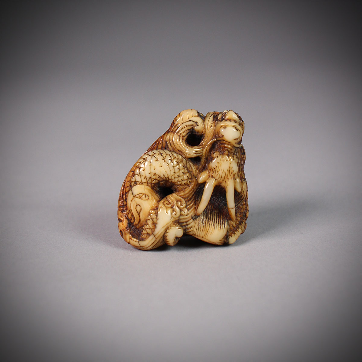 Narwhal ivory netsuke of a dragon, MR3144