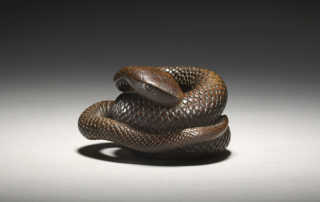 Rare wood netsuke of a coiled snake by Masanao of Kyoto, MR3125_v1