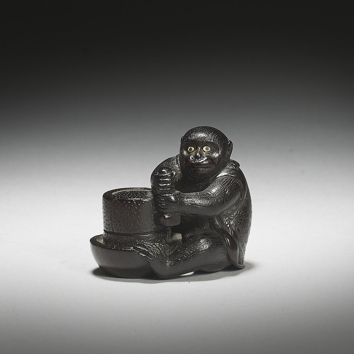 Shitan wood netsuke of a monkey, Okatomo, MR2957_v1