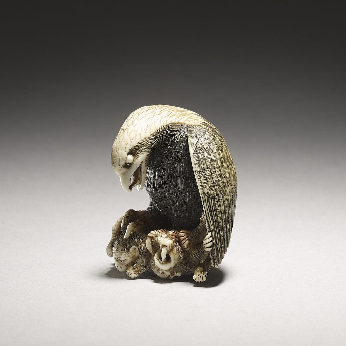 Stained ivory netsuke of an eagle with three monkeys, Nakamura Toshimaru,MR3088_v1