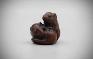 Wood netsuke of two rats, Masayasu, MR3149_v1