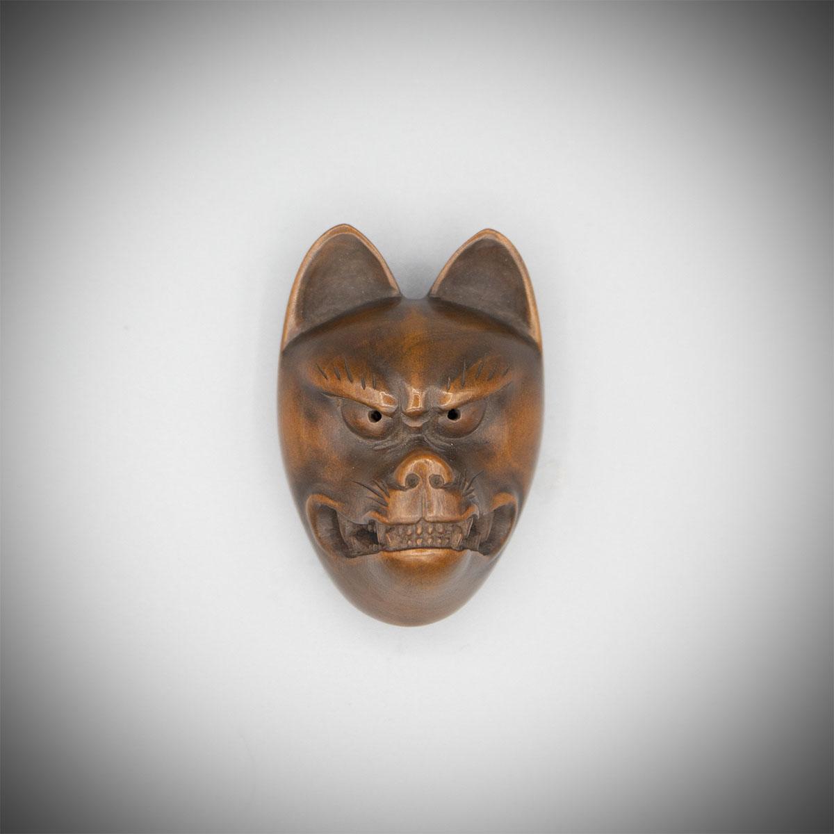 Wood Mask Netsuke of Kitsune (the Fox), MR3198_v1