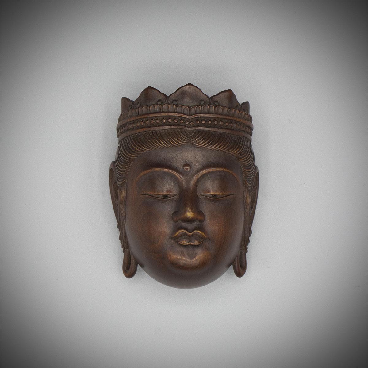 Wood netsuke carved as a Gyōdō mask of Kannon, Naito Koseki, MR3188