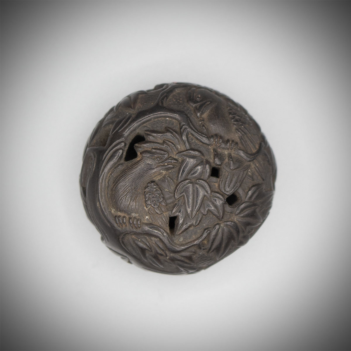 Dark Wood Manju Netsuke Carved with Two birds in a Mape Tree, MR3209_v1