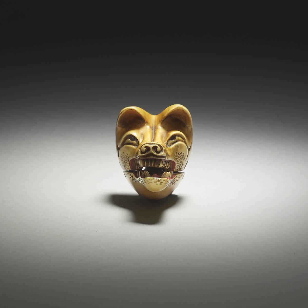 Deme Uman ivory kistune mask netsuke, MR2499_v1