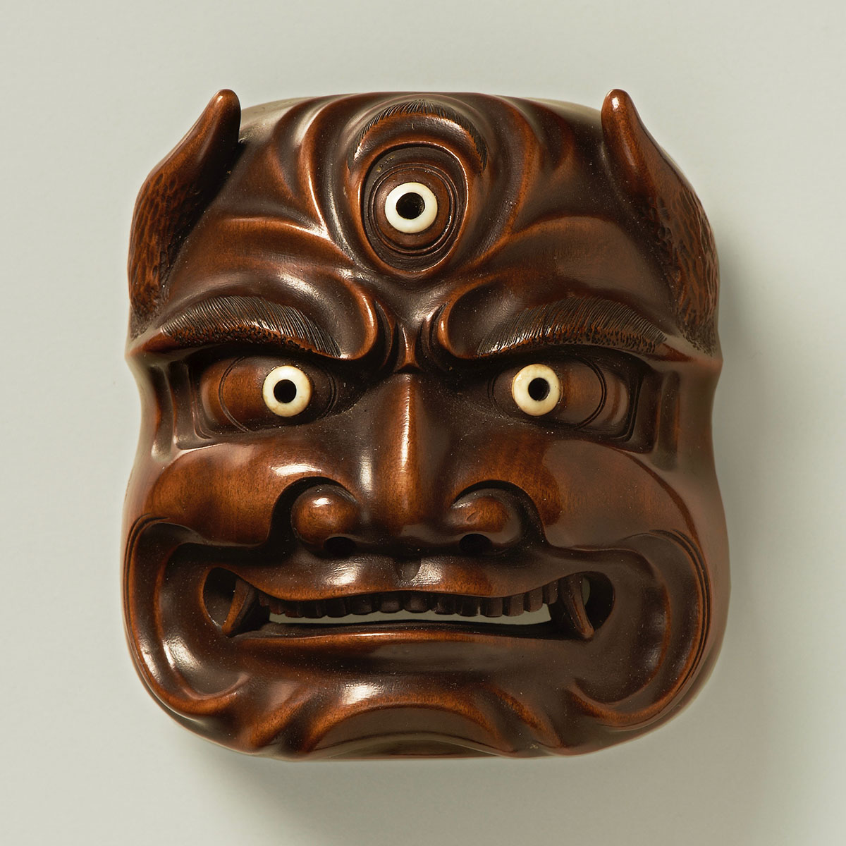 Boxwood mask netsuke of a bakemono, MR2257-2