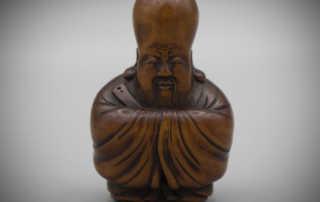 Rare Wood Netsuke of Fukurokuju in the manner of Masanao of Kyoto, MR3187_v1