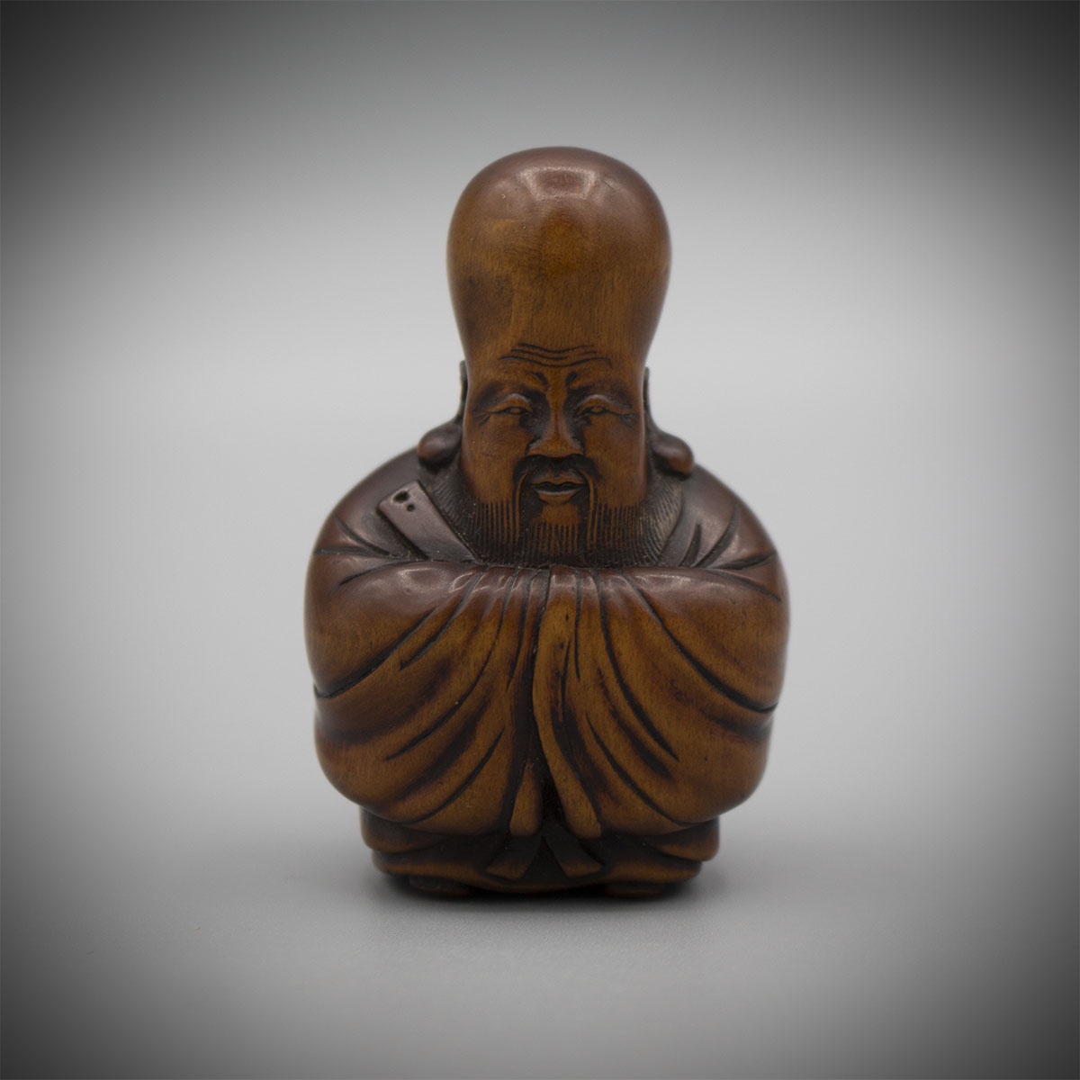 Rare Wood Netsuke of Fukurokuju in the manner of Masanao of Kyoto, MR3187_v1