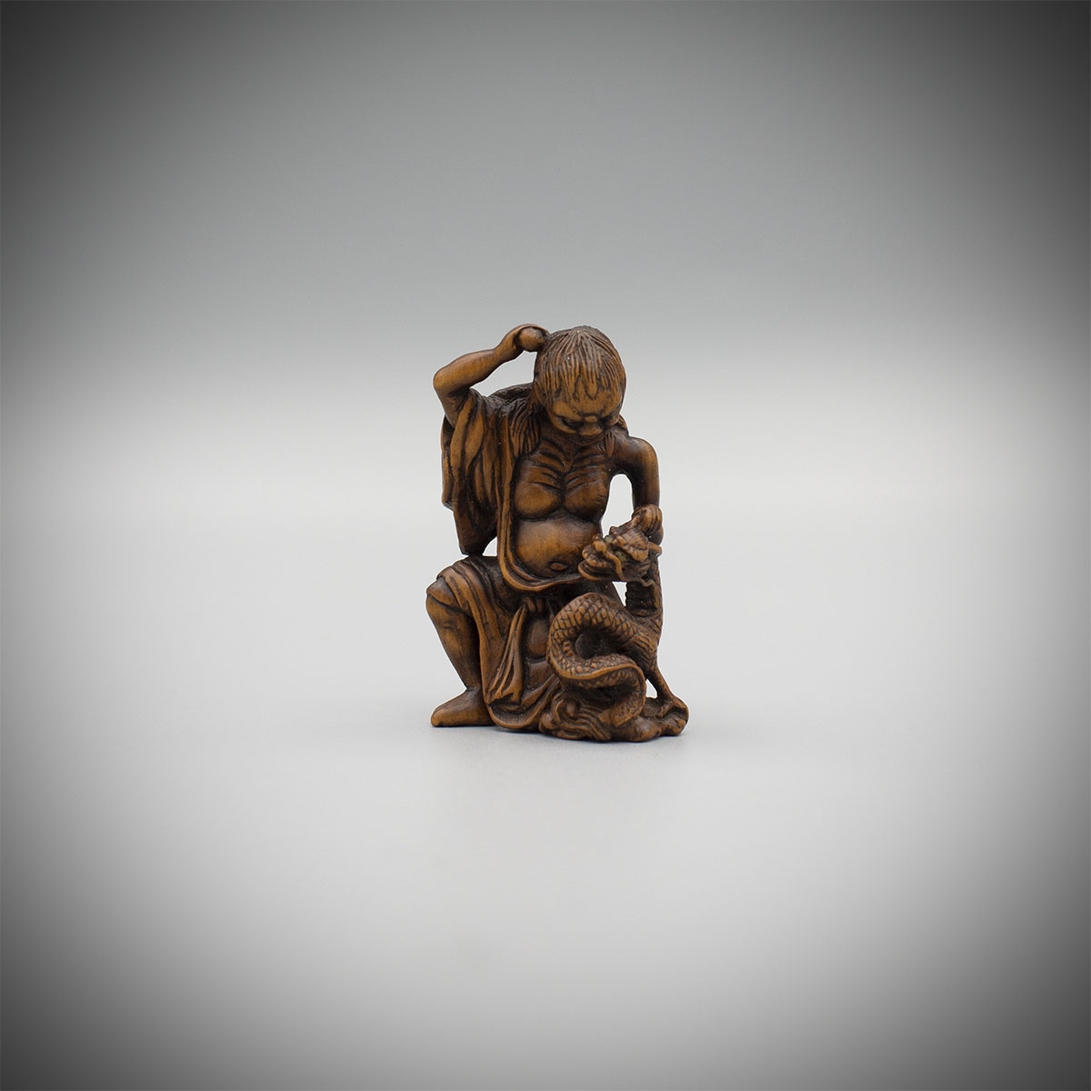 Wood Netsuke of Sondja and His Dragon, MR3148_v1