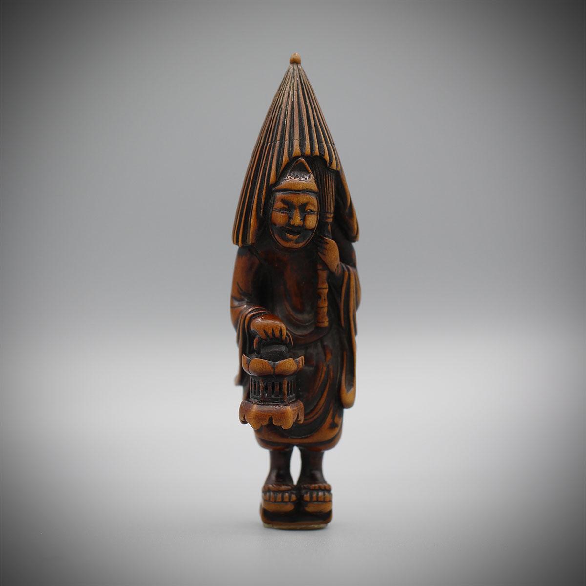 Wood Netsuke of a Temple Servant by Tomochika Gyokusen, MR3156_v1