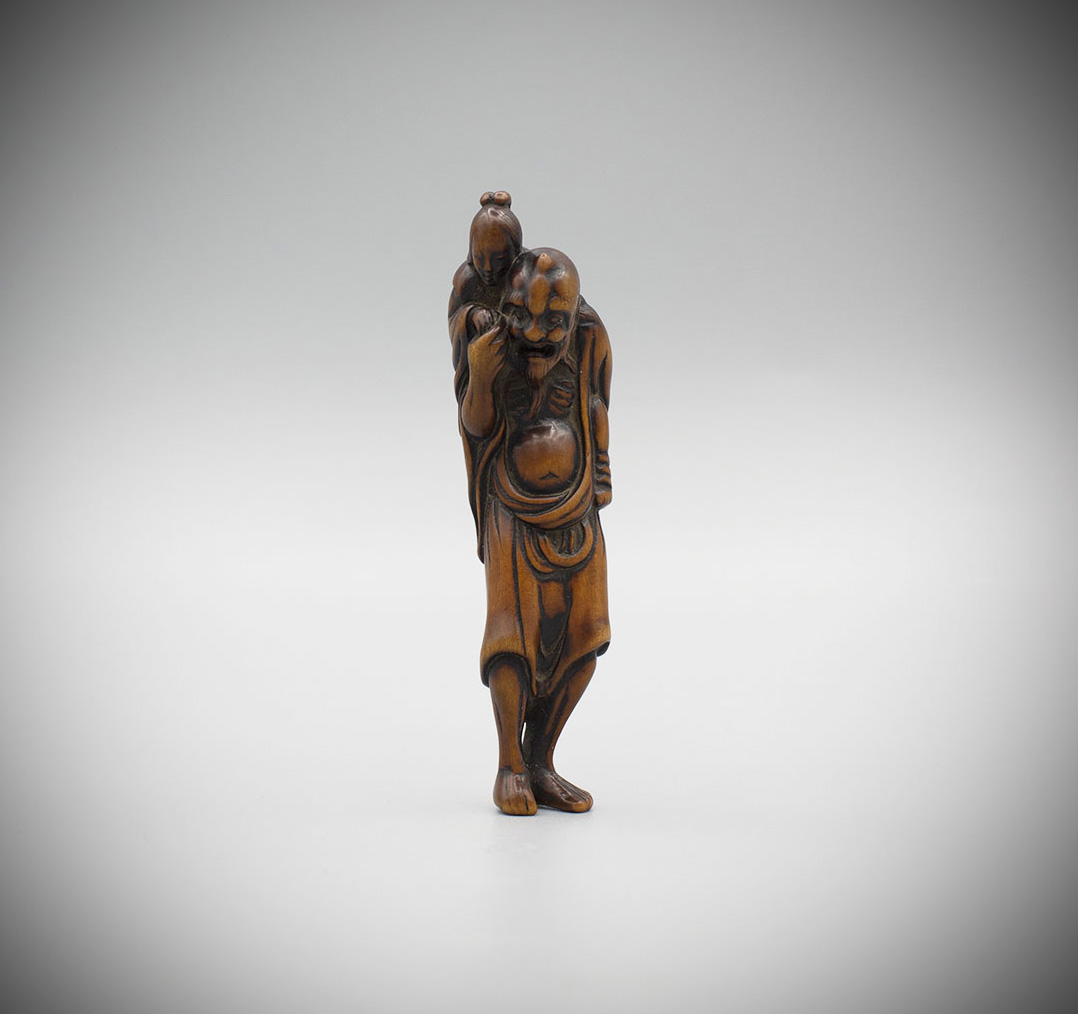 Wood netsuke of Ikkaku sennin, MR3236_v1-2