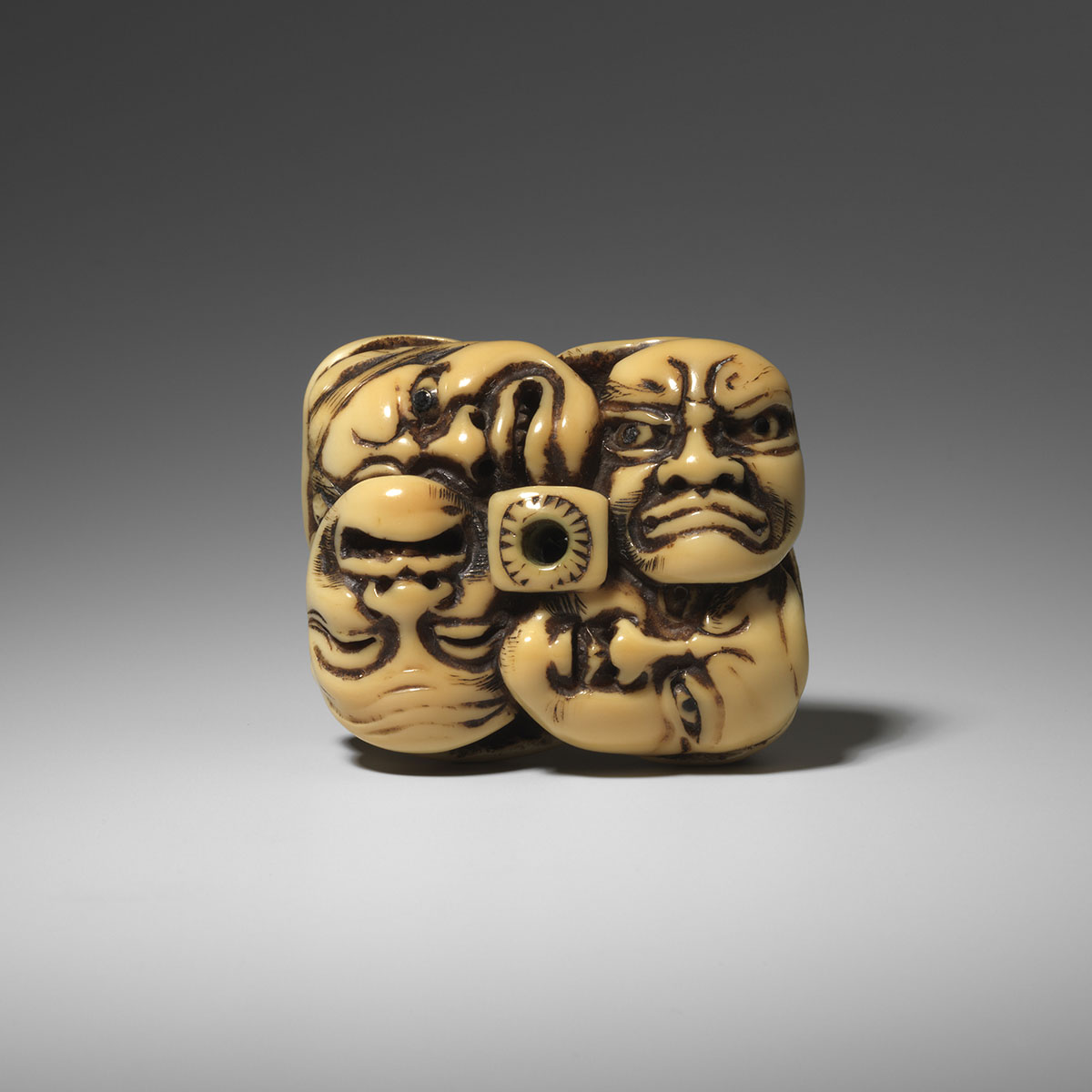 Celebrated Large Walrus Ivory Netsuke of Masks by Moriharu, MR3269_v1-2
