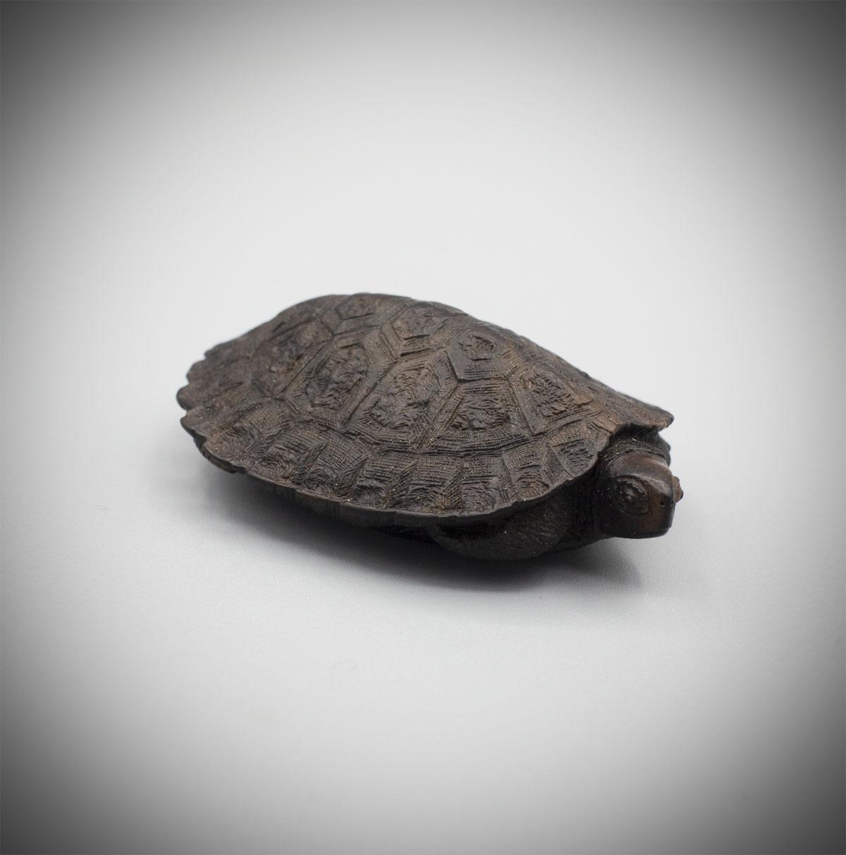 Dark wood netsuke of a turtle, MR2646_v1