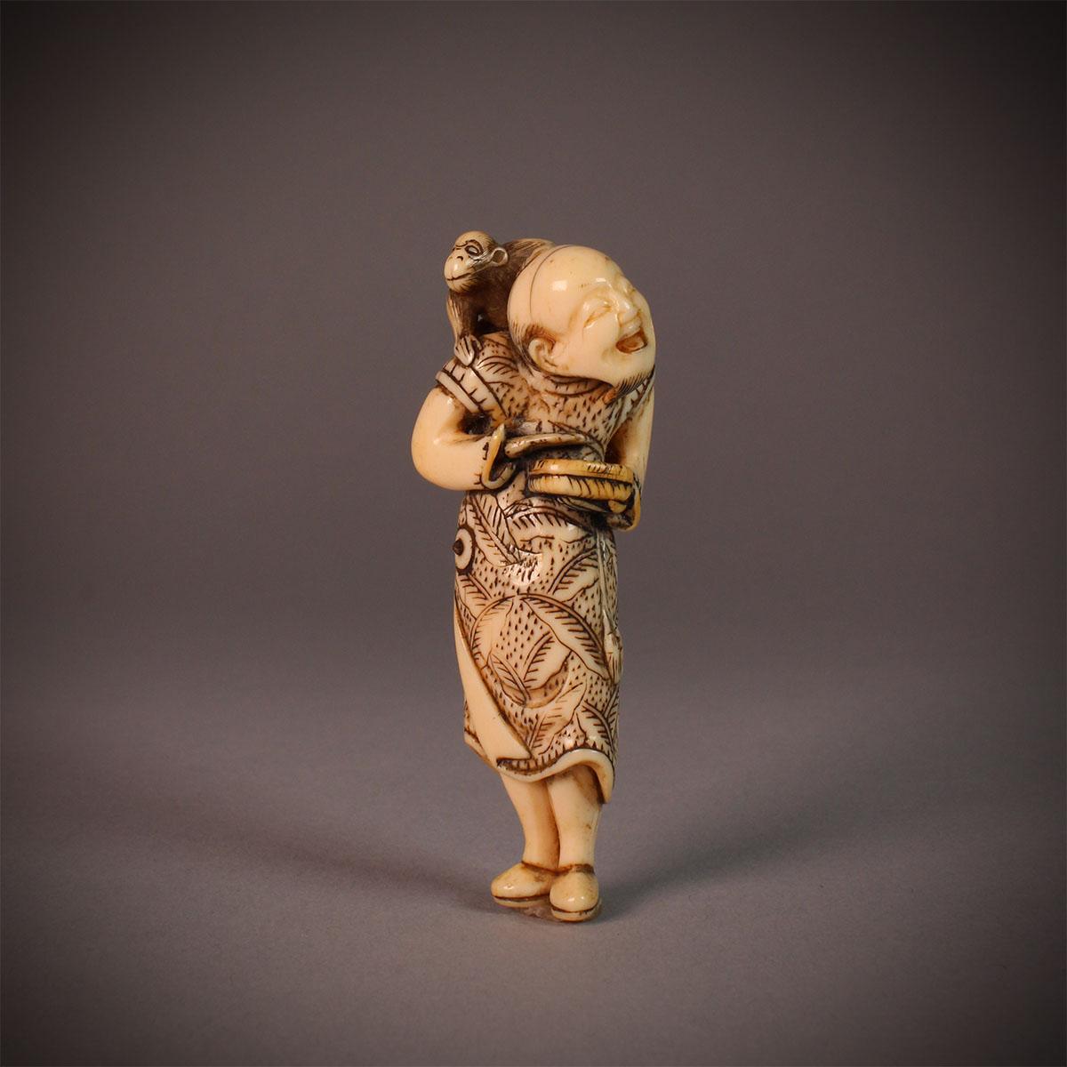 Ivory Netsuke of a Sarumawashi by Gisho (Gijo), MR2848_v1