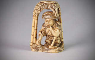 Ivory netsuke of Moso in a bamboo grove, MR3104_v1