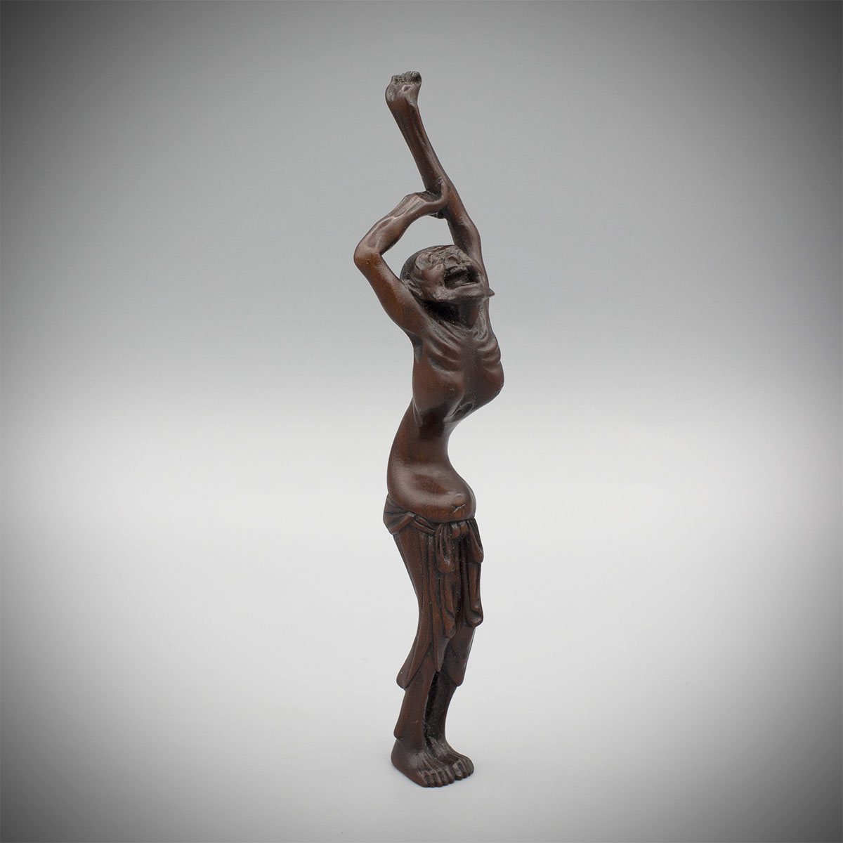 Plum wood sashi netsuke of a screaming man by Kunimitsu, MR3241_v1