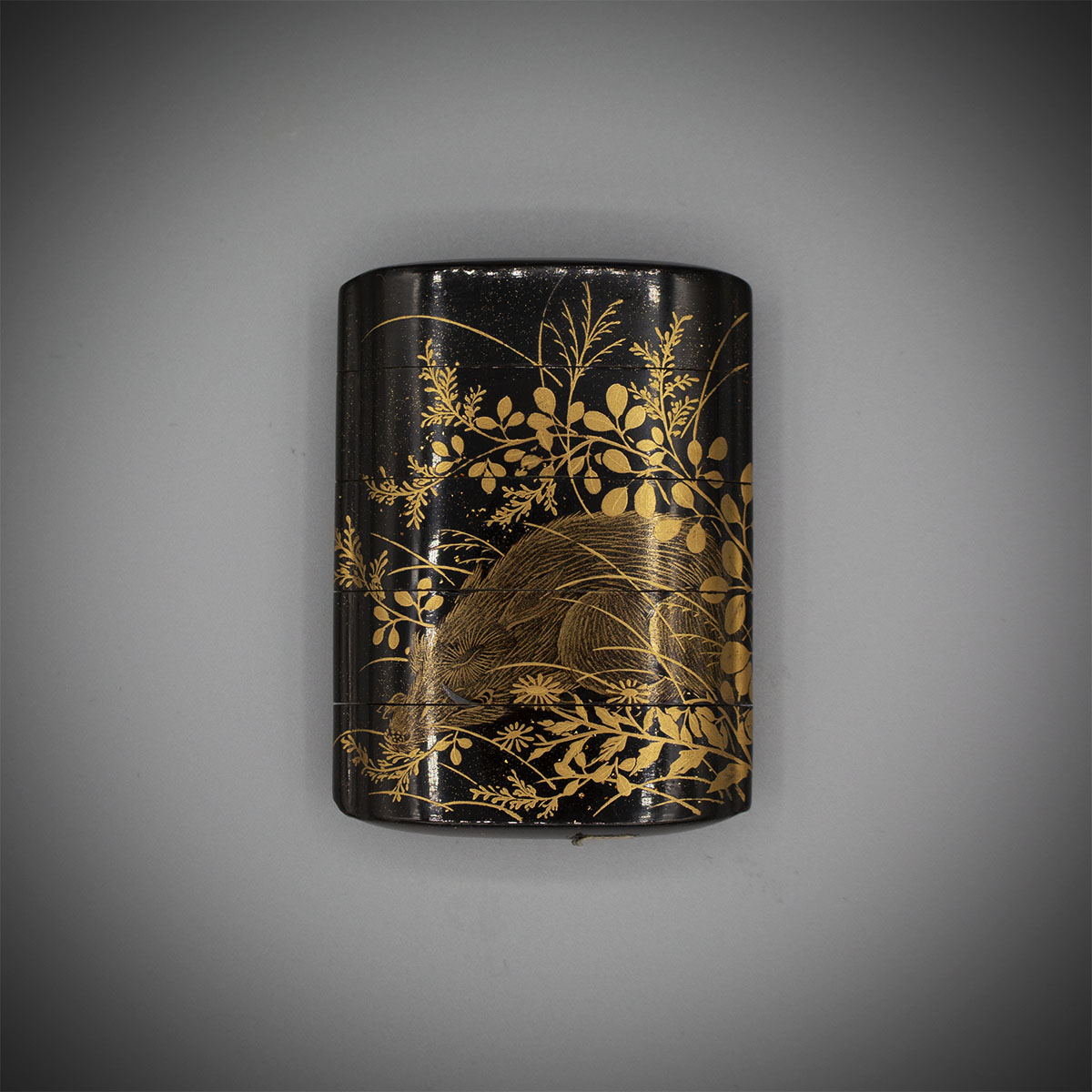 Small 4-case roiro lacquer inro with a sleeping boar by Shunsho, MR3158_v1