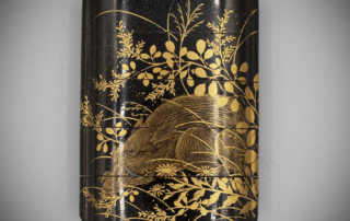 Small four-case roiro lacquer inro with a sleeping boar by Shunsho, MR3158_v1