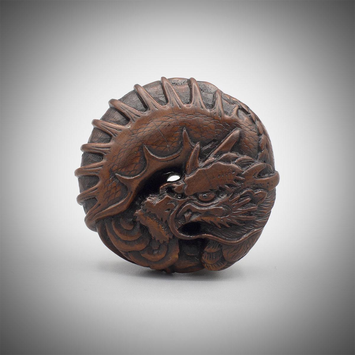 Wood manju netsuke of a winged dragon, MR3238_v1