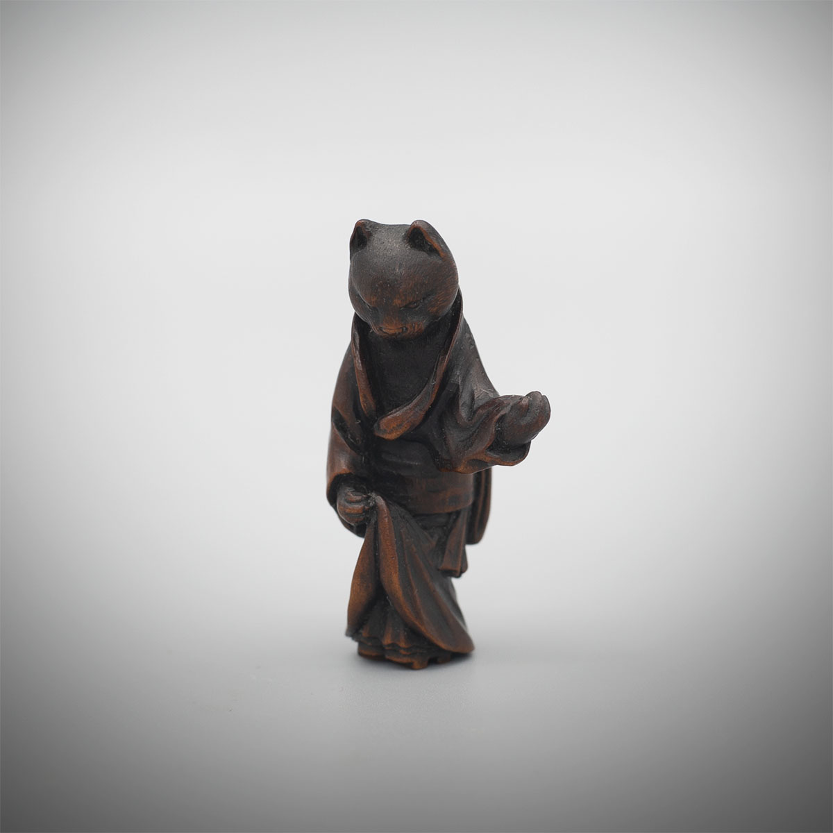 Dark Stained Wood Netsuke of a Cat Geisha, by Ittan, MR3345_v1