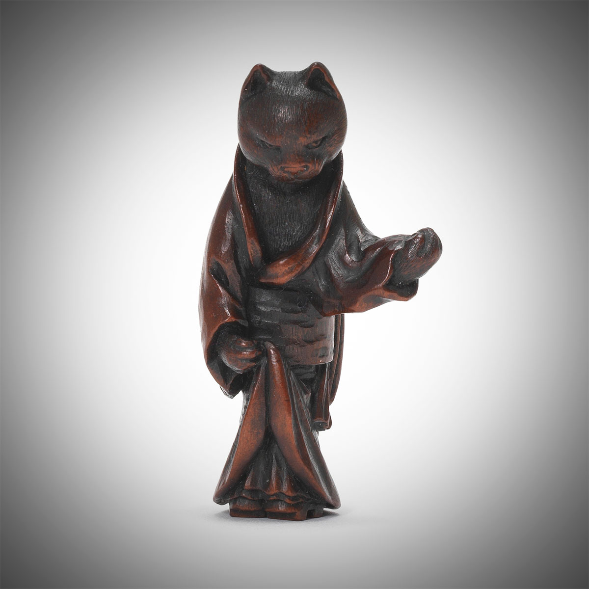 Dark Stained Wood Netsuke of a Cat Geisha by Ittan, MR3345_v1-2