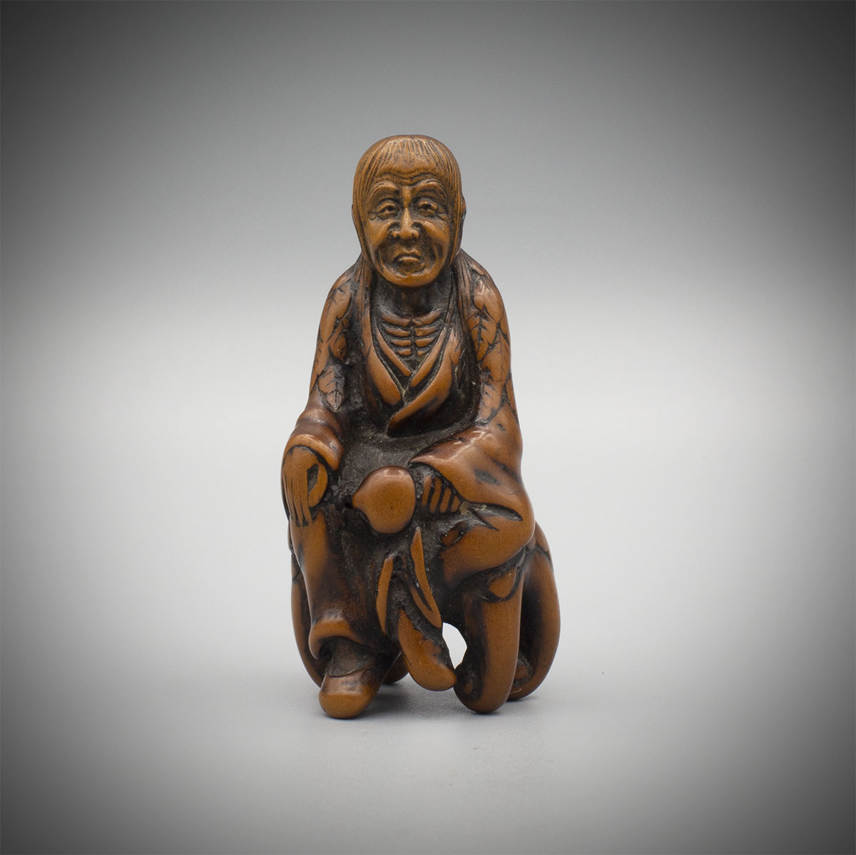 Early Wood Netsuke of Tobosaku Sennin, MR3328_v1