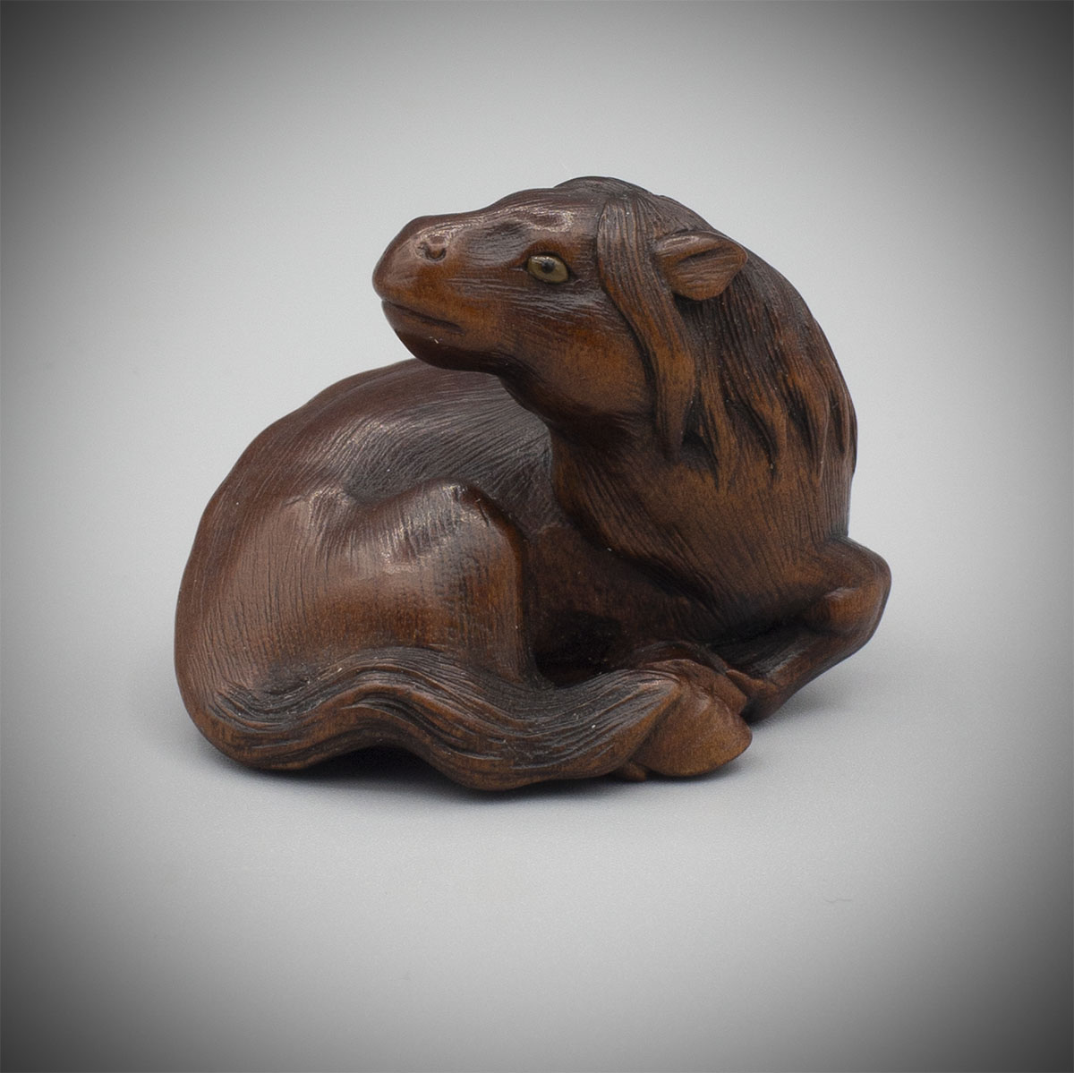 Exceptional Boxwood Netsuke of a Recumbent Mare by Ikkan, MR3316_v1